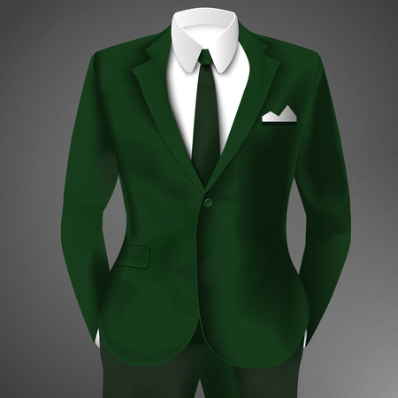 Male Clothing Business Green Suit Illustration