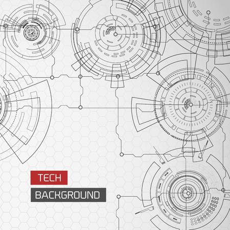 Futuristic Circles Circuitry Background Illustration