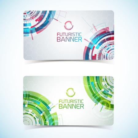 Futuristic Card Banners Set Vector illustration.