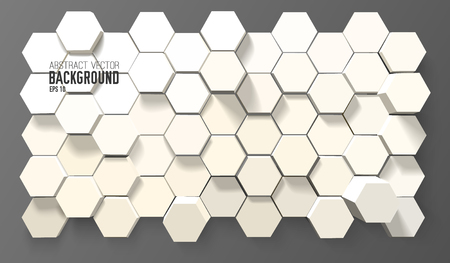 Abstract geometric background with 3d white hexagons in minimalistic style vector illustration