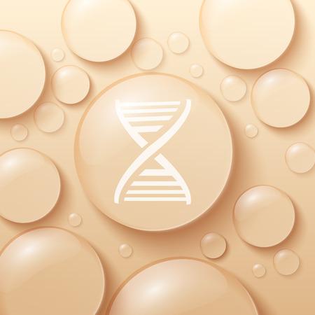 遺伝コード シンボルの現実的なベクトル図と滴と泡の背景  イラスト・ベクター素材