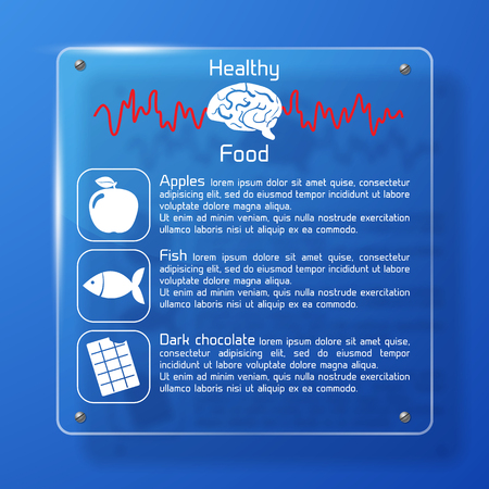 Healthy food poster with apples fish and chocolate on blue background flat vector illustration