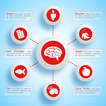 인간의 두뇌 그림에 대 한 귀중 한 건강 식품 아이콘으로 적절 한 영양 infographic 서식 파일.