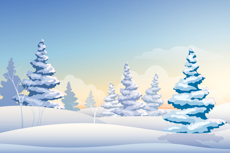 Merry Christmas fairy winter landscape snowy trees illustration.