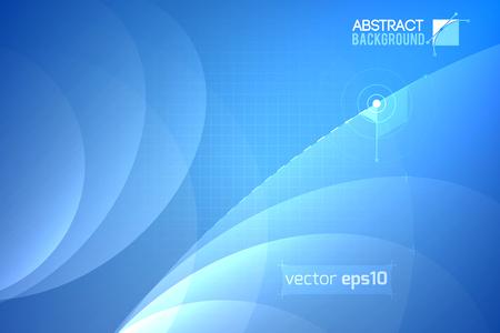 透明な曲線と光の青いテクスチャ イラストをグリッドに未来的な抽象的なテンプレートです。