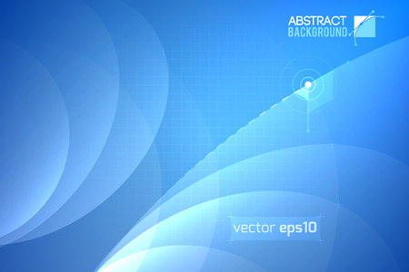 Futuristic abstract template with curved transparent lines and grid on light blue texture illustration.