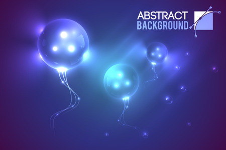 Abstract template with three eyed flying alien bubble shaped luminescent balloons in muddy gradient environment illustration.