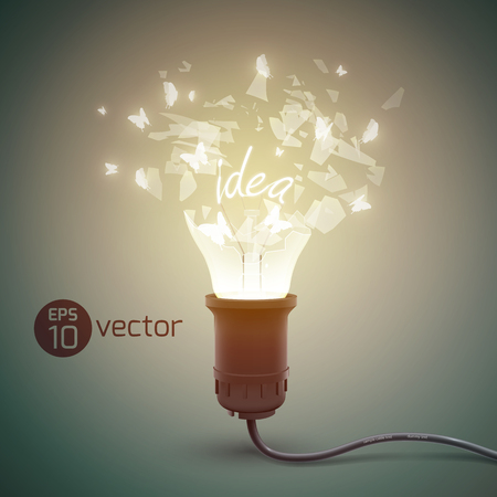 Creative background with splinter light bulb realistic bursting glow lamp with glass particles  and electric wire illustration