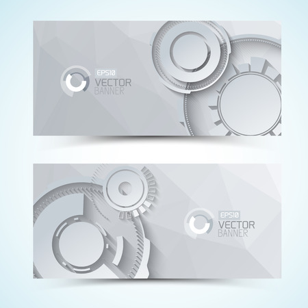 Horizontal banners with digital transparent gears of various size on textured grey background isolated vector illustration