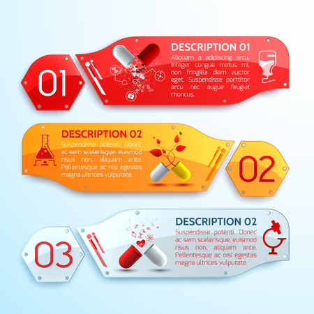 Treatment info horizontal banners set realistic isolated vector illustration