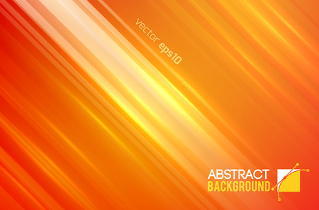 Abstract bright template with straight diagonal lines and light sparkling effects on orange background vector illustration