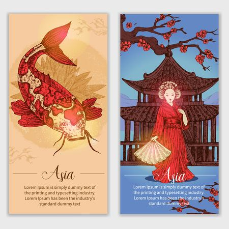 Asia Hand Drawn Vertical Banners Illustration