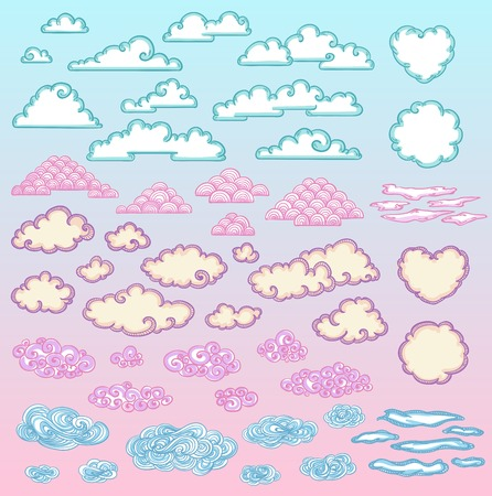 Sketch Colorful Beautiful Clouds Set