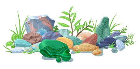 만화 다채로운 천연 돌 템플릿