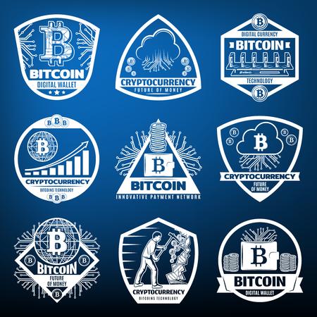 ビンテージ Bitcoin 通貨ラベル セット  イラスト・ベクター素材