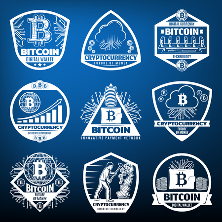Vintage Bitcoin Currency Labels Set Иллюстрация