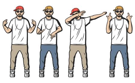 Vintage gekleurde rappers set