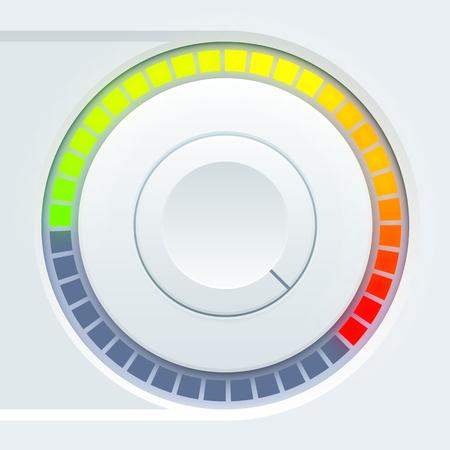 Media gebruikersinterfaceontwerp met ronde volumetumbeker en kleurrijke schaal op lichte achtergrond geïsoleerde vectorillustratie