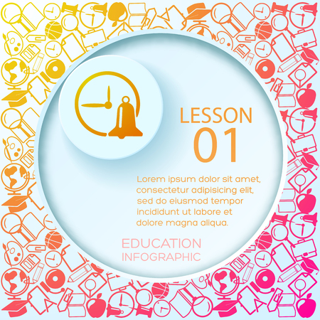 School learning infographic concept with place for text cut paper circle and colorful icons background vector illustration