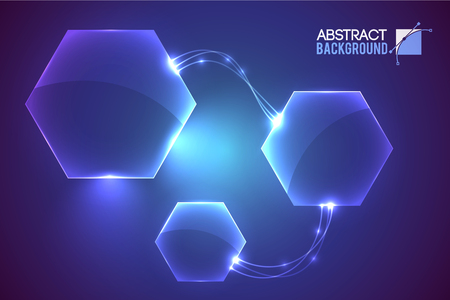 Abstract background with modern virtual interface empty hexagon shaped elements conected with curvy luminescent lines