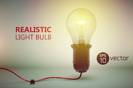 Creative template with realistic image of glow lamp screwed in bulb wired to power cord on gradient