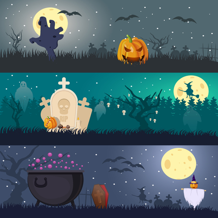 Cartoon Halloween Horizontal Banners Illustration