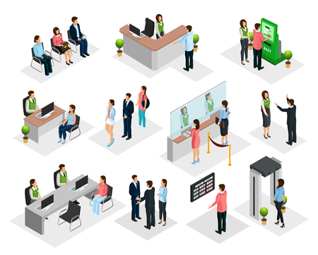 Isometric People In Bank Collection