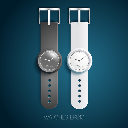 Mechanical watches design concept with white gray leather belts and dials in realistic style isolated vector illustration