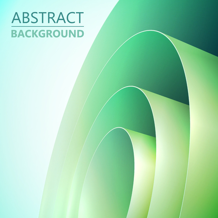 Abstract light clean background with green rolled wrapping paper coil vector illustration
