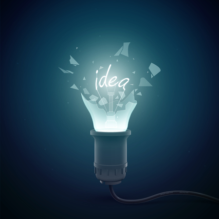 Creative conceptual background template with bursting electric lamp with filament word idea on dark background vector illustration Illustration