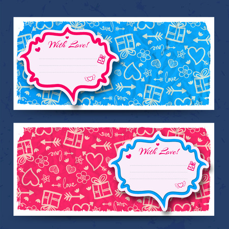 Amorous horizontal banners with sticker for greeting text on wrinkled paper sketch icons background isolated vector illustration