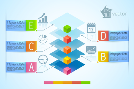 Infographic business chart with colorful 3d squares five ribbon text banners icons on blue background vector illustration