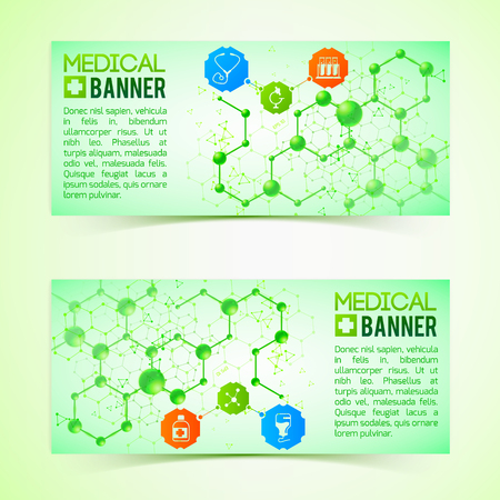 Pharmaceutics And Pharmacy Horizontal Banners Set Stock Photo