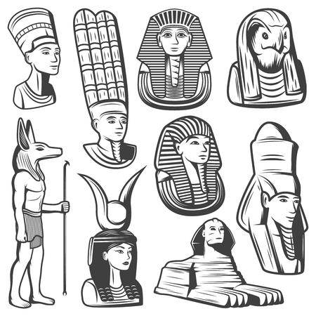 mythological character: Vintage Monochrome Ancient Egypt People Set