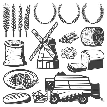 Vintage Agriculture Elements Set Ilustrace