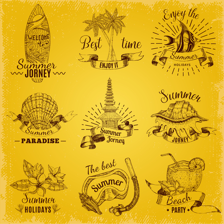 Balinese Labels Set Illustration