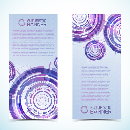 Two isolated vertical modern virtual technology banners set with compositions of futuristic circles title and text place vector illustration Illustration
