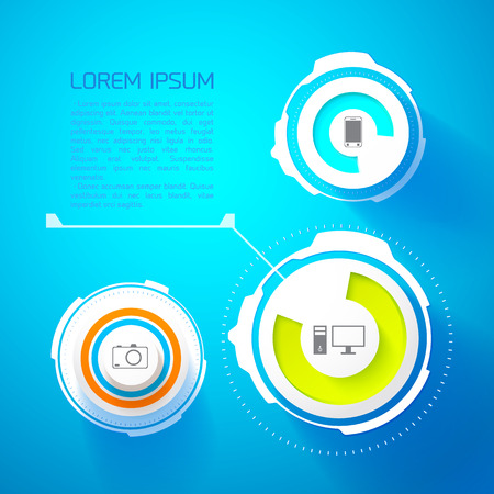 Futuristic infographic template with text innovative abstract circles computer mobile camera icons isolated vector illustration