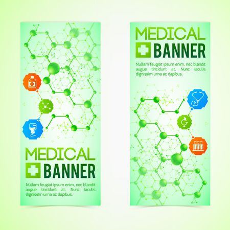 Medicine and diagnosis vertical banners set with science symbols realistic isolated vector illustration Stock Vector - 86918615
