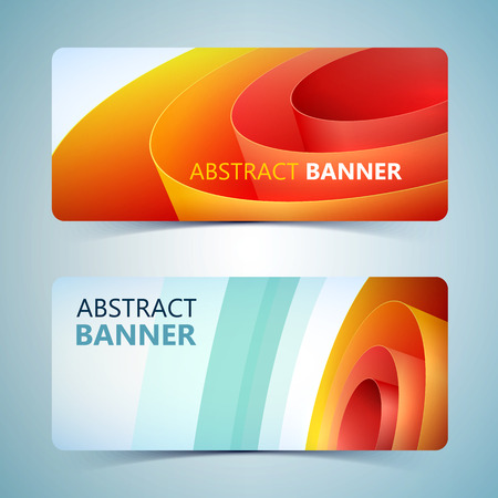 Abstract paper horizontal banners with orange rolled wrapping coil on light background isolated vector illustration