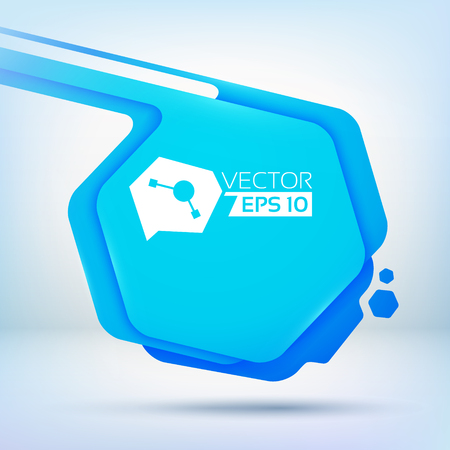 Abstract background with blue hexagon spot with rounded corners colour layers and small ink drops vector illustration