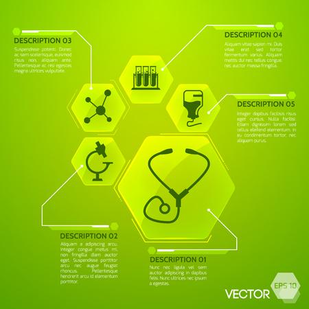 Medicine and health green poster with medical equipment symbols flat vector illustration Illustration