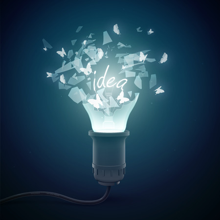 Creative conceptual background with bursting glow lamp in bulb surrounded by elucidated idea glass shards vector illustration