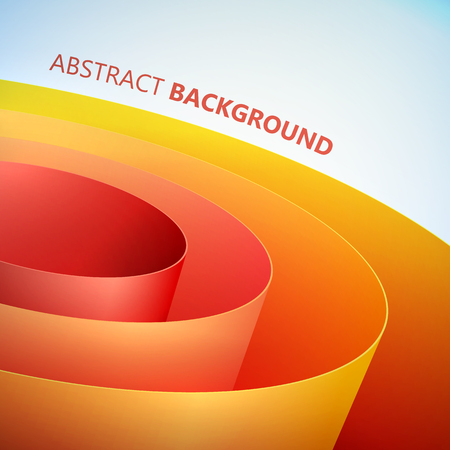 Abstract clean template with orange rolled smooth wrapping paper coil on light background vector illustration