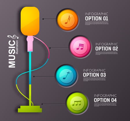 Music infographic concept with colorful round buttons four options stage microphone and musical notes vector illustration Çizim