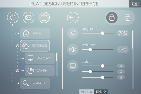 Flat UI template with icons buttons sliders and web elements for mobile menu and navigation vector illustration