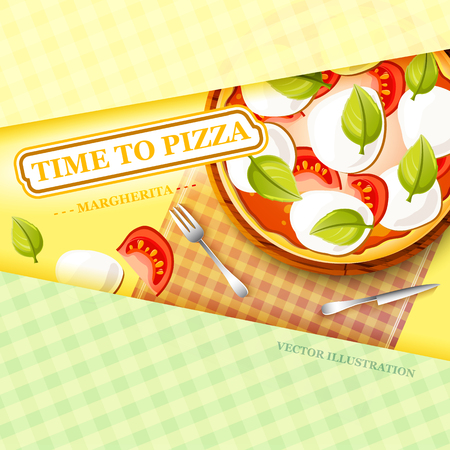 Colorful italian food template with traditional pizza margherita and different ingredients on light tablecloth vector illustration