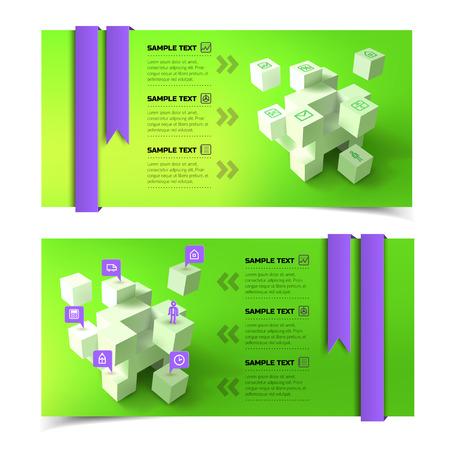 Bedrijfspresentatie infographic horizontale banners met 3d de pictogrammenlinten van de kubussentekst op groene achtergrond geïsoleerde vectorillustratie