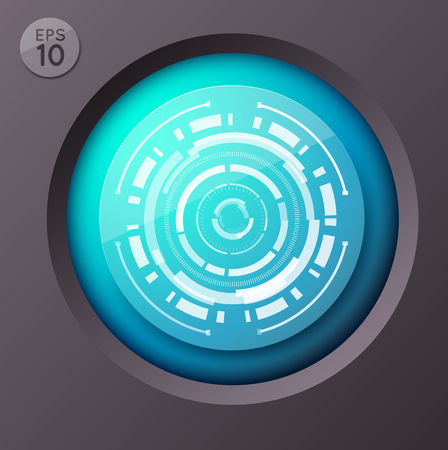Futuristic Circle Button Background Ilustração