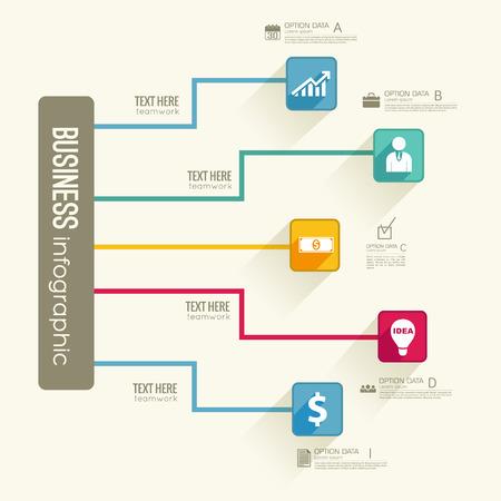 Infographic Business Flowchart Template Stock Vector - 87285268